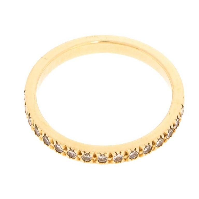 Women's Tiffany & Co. Diamond 18k Yellow Gold Half Eternity Ring Size 50 For Sale