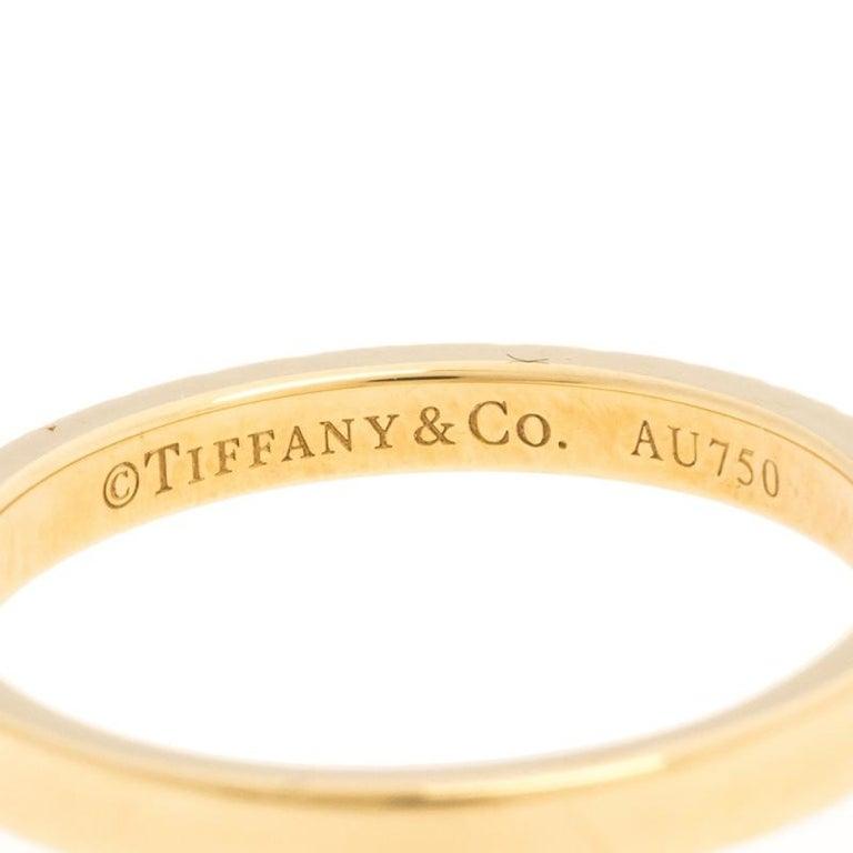 Tiffany & Co. Diamond 18k Yellow Gold Half Eternity Ring Size 50 For Sale 1