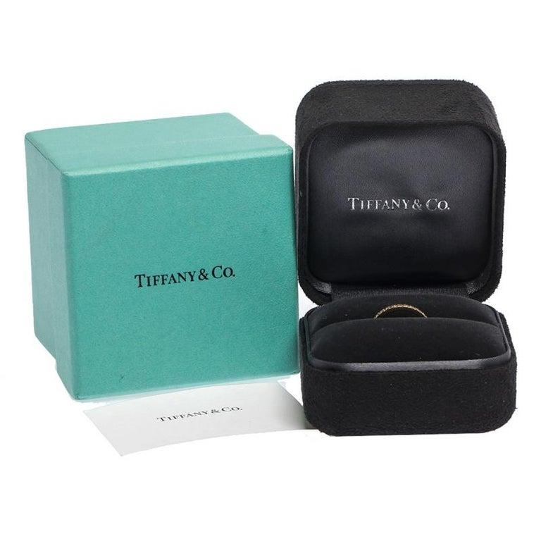 Tiffany & Co. Diamond 18k Yellow Gold Half Eternity Ring Size 50 For Sale 2