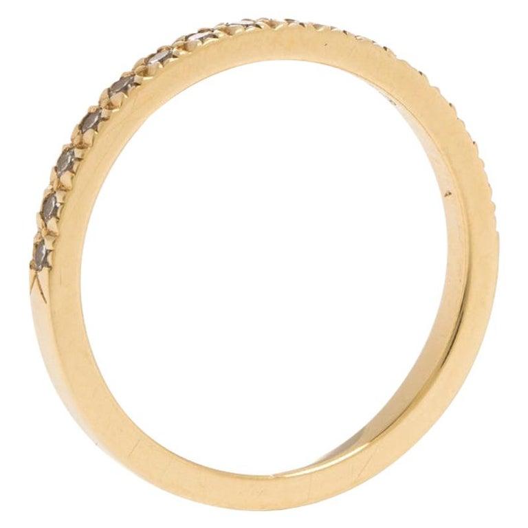 Tiffany & Co. Diamond 18k Yellow Gold Half Eternity Ring Size 50 For Sale