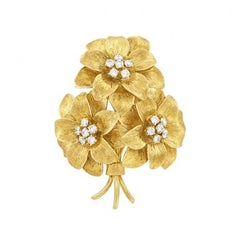 Tiffany & Co. Diamond and Gold Flower Bouquet Brooch