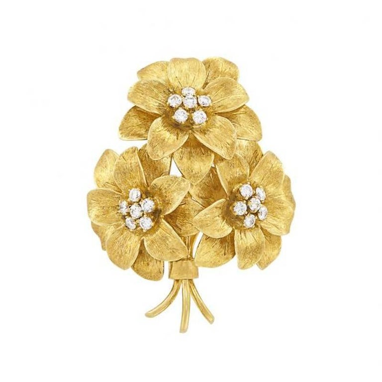 8456e3c0c0b Tiffany and Co. Diamond and Gold Flower Bouquet Brooch For Sale at ...