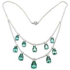 Tiffany & Co. Diamond and Green Tourmaline Platinum Necklace
