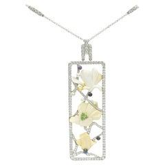 Tiffany & Co. Diamond and Multi-Gem 'Magnolia' Pendant Necklace in Platinum