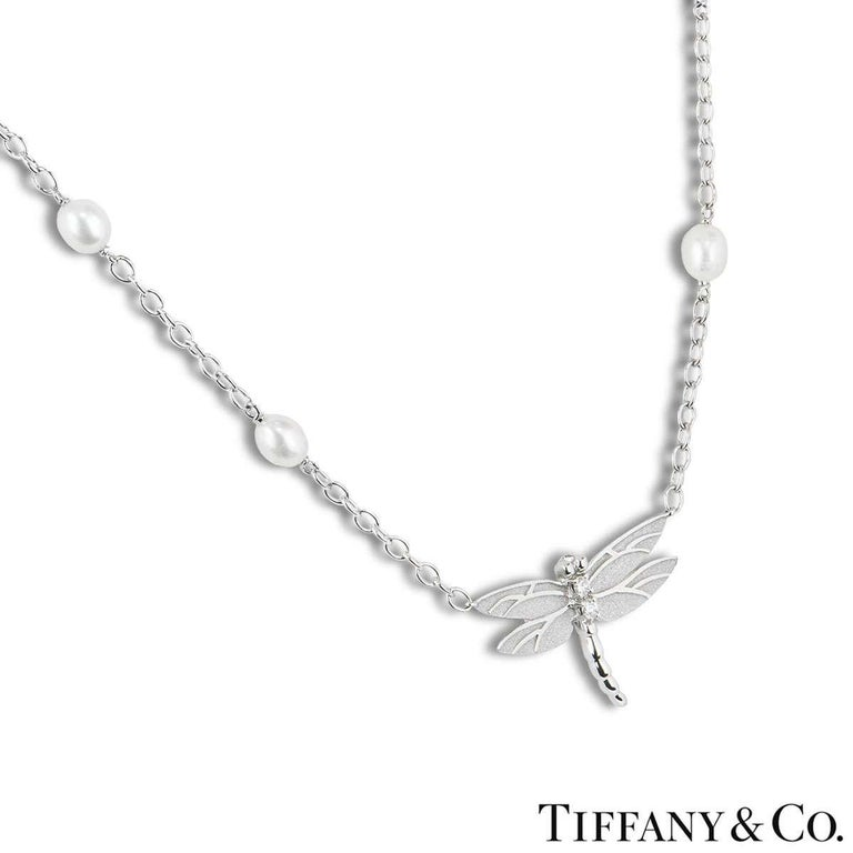 Round Cut Tiffany & Co. Diamond and Pearl Dragonfly Pendant Necklace and Earrings Suite For Sale