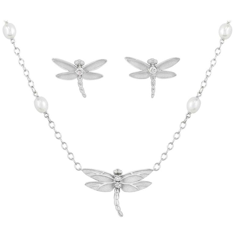 Tiffany & Co. Diamond and Pearl Dragonfly Pendant Necklace and Earrings Suite For Sale