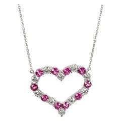 Tiffany & Co. Diamond and Pink Sapphire Heart Pendant in Platinum 1.1 Carat