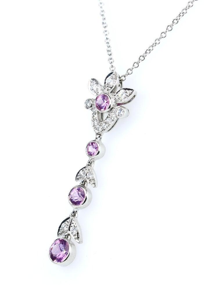 Platinum Diamond and Pink Sapphire 16 inch pendant necklace.