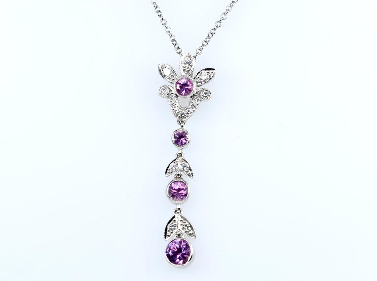 Modern Tiffany & Co. Diamond and Pink Sapphire Platinum Pendant Necklace For Sale