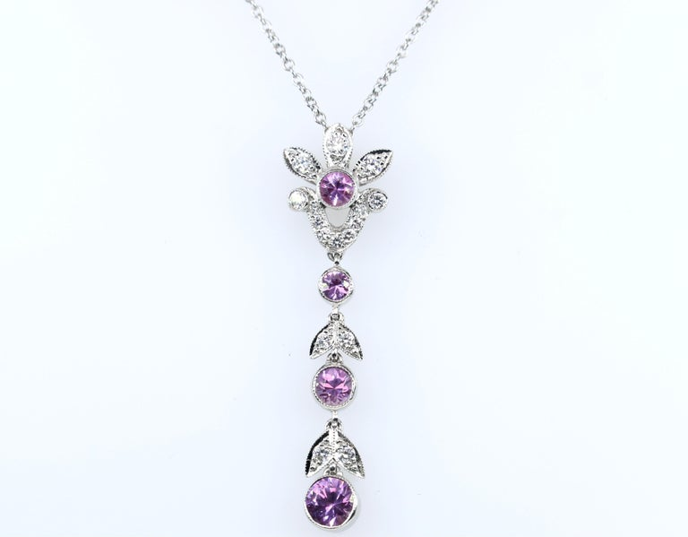 Round Cut Tiffany & Co. Diamond and Pink Sapphire Platinum Pendant Necklace For Sale
