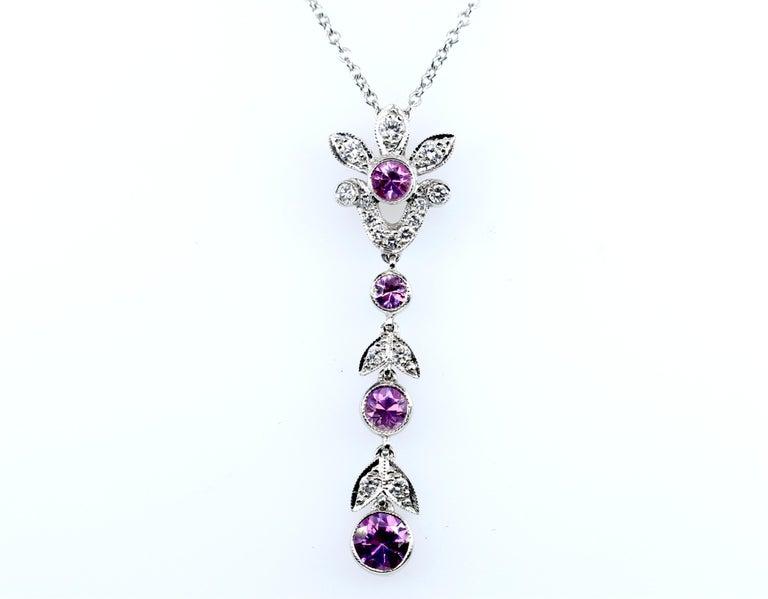 Tiffany & Co. Diamond and Pink Sapphire Platinum Pendant Necklace In Fair Condition For Sale In Dallas, TX
