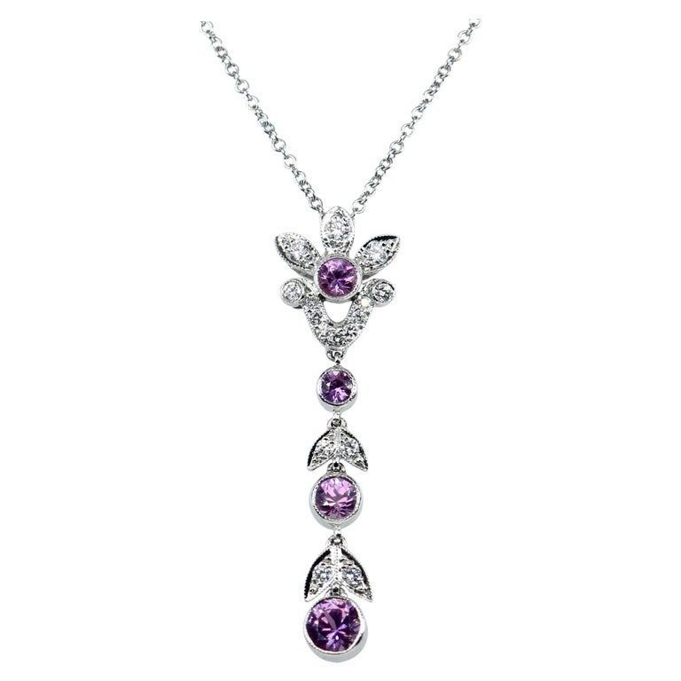 Tiffany & Co. Diamond and Pink Sapphire Platinum Pendant Necklace For Sale