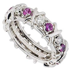 Tiffany & Co. Diamond and Pink Sapphire Schlumberger Ring