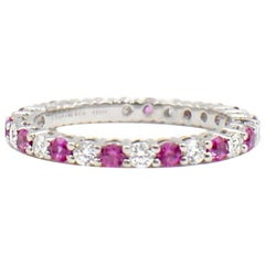 Tiffany & Co. Diamond and Pink Sapphires Shared-Setting Band Ring in Platinum