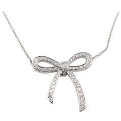 Tiffany & Co. Diamond and Platinum Bow Pendant Necklace