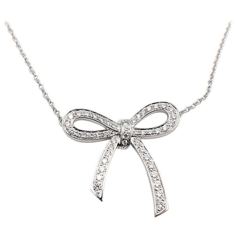 8e156bf94 Tiffany and Co. Diamond and Platinum Bow Pendant Necklace For Sale ...