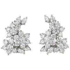 Tiffany & Co. Diamond and Platinum Clip Earrings 6.3 Carat