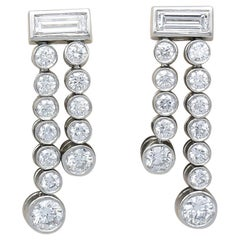 Tiffany & Co. Diamond and Platinum Ear Pendant Earrings