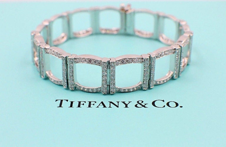 Tiffany & Co. Diamond and Platinum Open Square Link Bracelet Rounds 4.00 TCW For Sale 4