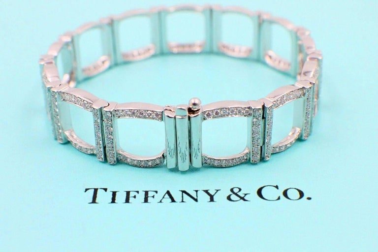 Tiffany & Co. Diamond and Platinum Open Square Link Bracelet Rounds 4.00 TCW For Sale 5