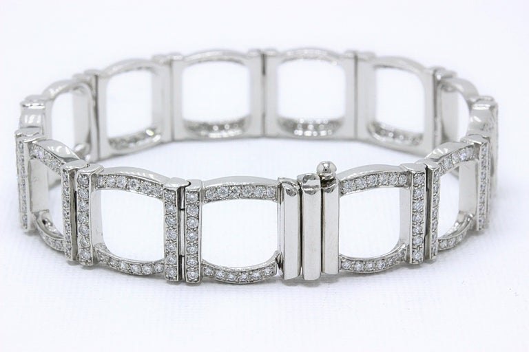 Tiffany & Co. Diamond and Platinum Open Square Link Bracelet Rounds 4.00 TCW For Sale 6