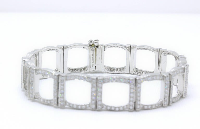 Tiffany & Co. Diamond and Platinum Open Square Link Bracelet Rounds 4.00 TCW For Sale 7