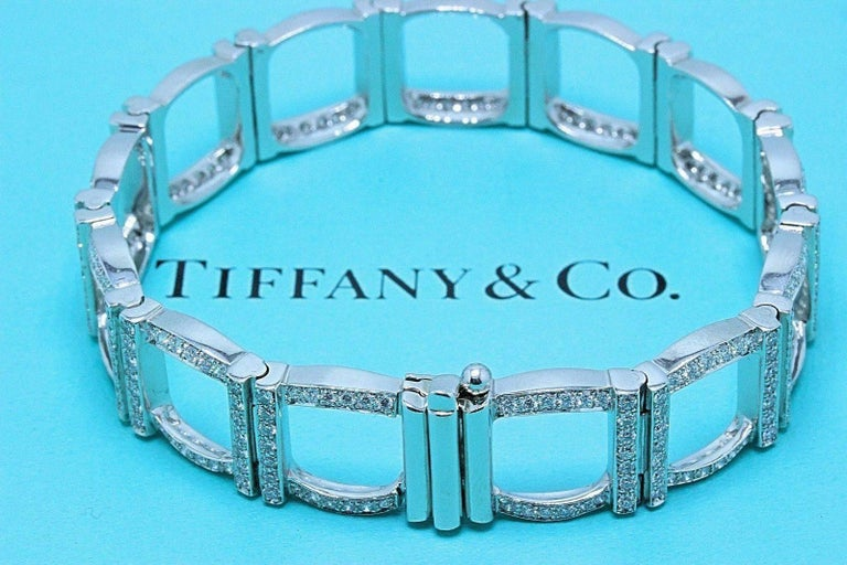 Tiffany & Co   Round Diamond Square Link Pave Bracelet in Platinum.   Length is 7 Inches.   Total Carat Weight of 324 Round Brilliant Cut Diamonds is 4.00 TCW F - G color, VVS - VS clarity.   Hallmark on clasp