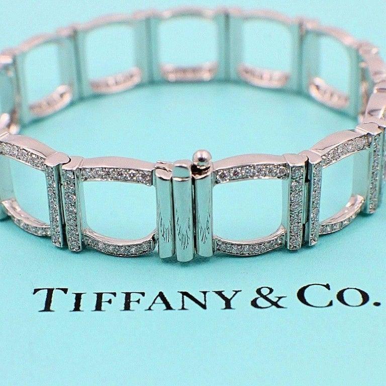 Art Deco Tiffany & Co. Diamond and Platinum Open Square Link Bracelet Rounds 4.00 TCW For Sale