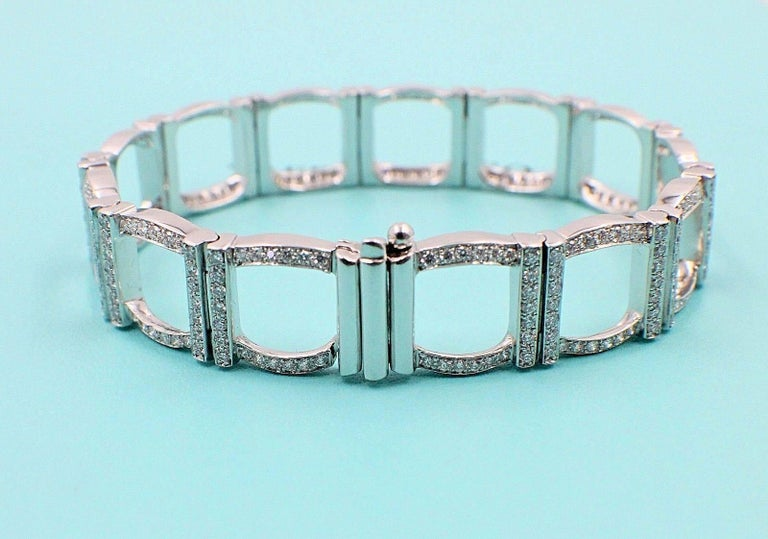 Round Cut Tiffany & Co. Diamond and Platinum Open Square Link Bracelet Rounds 4.00 TCW For Sale