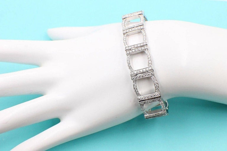 Women's or Men's Tiffany & Co. Diamond and Platinum Open Square Link Bracelet Rounds 4.00 TCW For Sale
