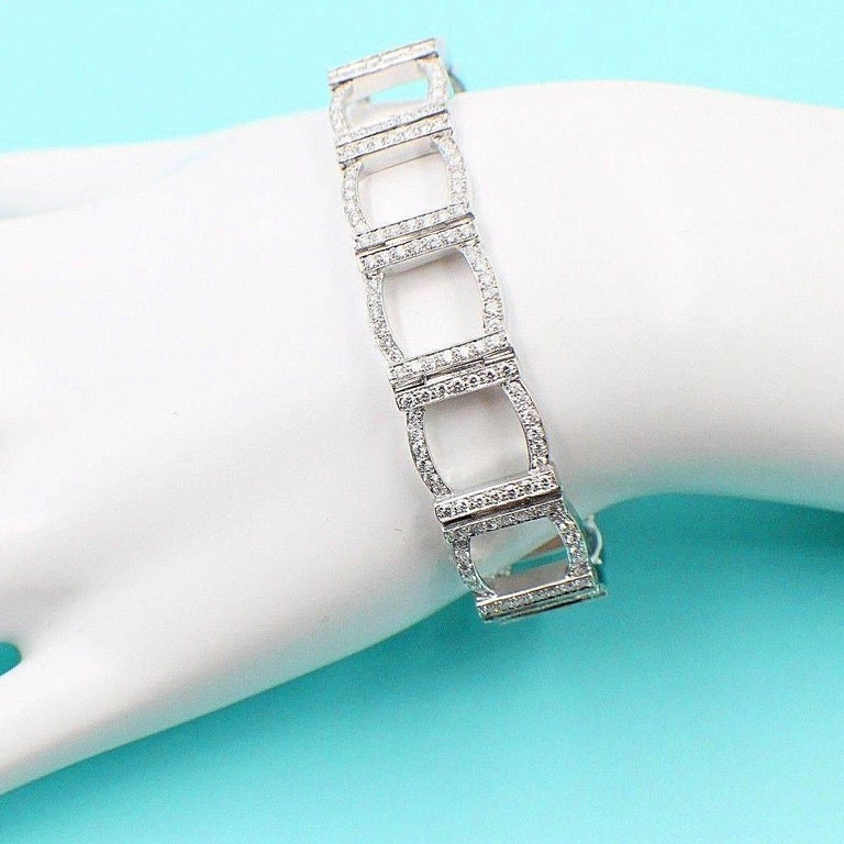 Tiffany & Co. Diamond and Platinum Open Square Link Bracelet Rounds 4.00 TCW For Sale 1