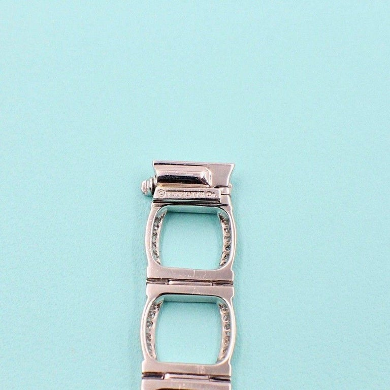 Tiffany & Co. Diamond and Platinum Open Square Link Bracelet Rounds 4.00 TCW For Sale 2