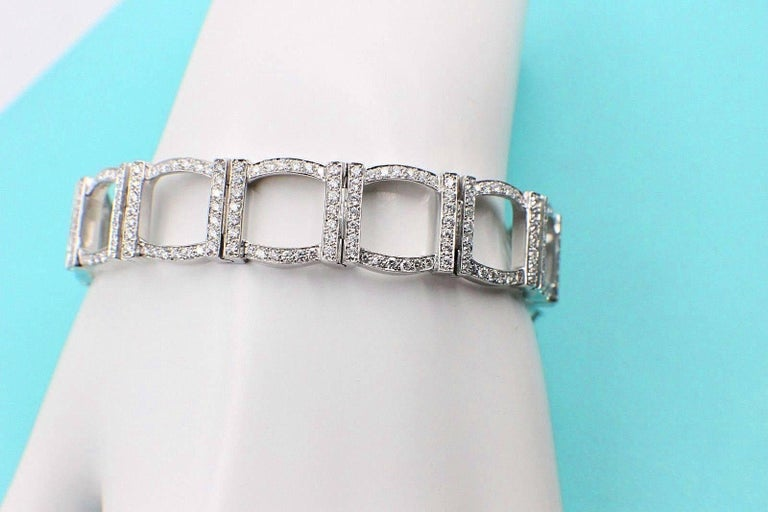 Tiffany & Co. Diamond and Platinum Open Square Link Bracelet Rounds 4.00 TCW For Sale 3