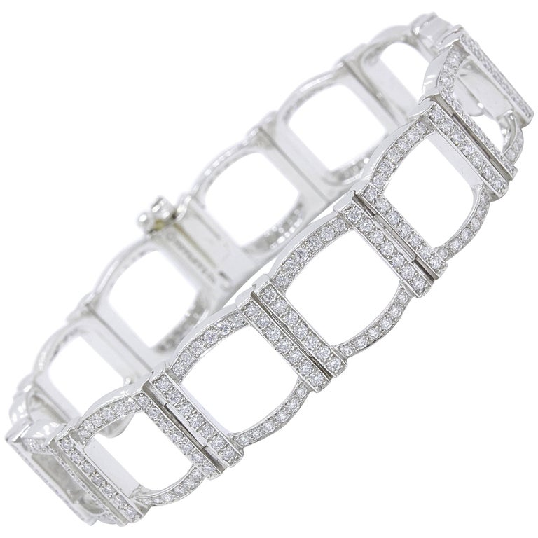 Tiffany & Co. Diamond and Platinum Open Square Link Bracelet Rounds 4.00 TCW For Sale