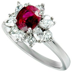 Tiffany & Co. Diamond and Ruby Platinum Small Flower Ring