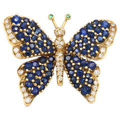 Tiffany & Co. Diamond and Sapphire 18 Karat Yellow Gold Butterfly Brooch