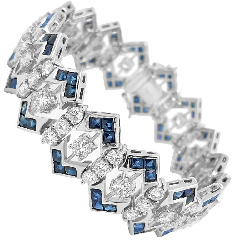 Tiffany & Co. Diamond and Sapphire Bracelet For Sale
