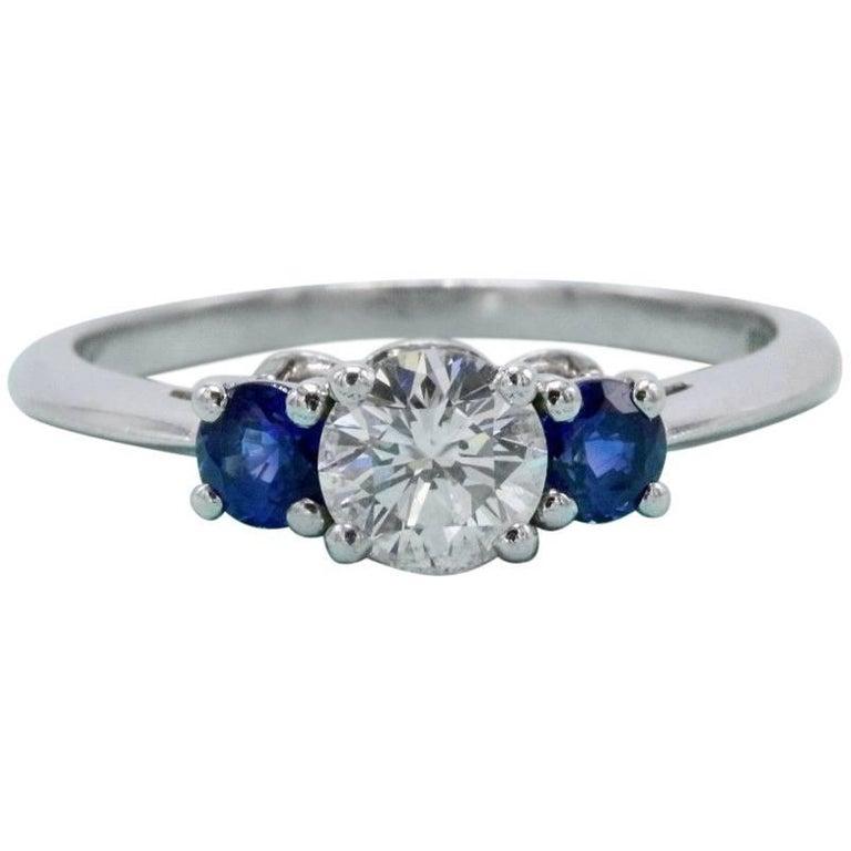 394cafb98 Tiffany & Co. Diamond and Sapphire Ring 1.32 Carat Three-Stone Set in  Platinum
