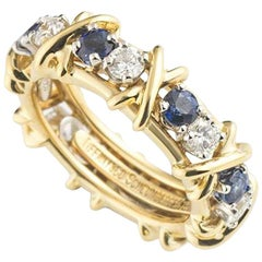 Tiffany & Co. Diamond and Sapphire Schlumberger Band Ring