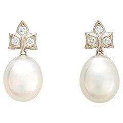 Tiffany & Co. Diamond and South Sea Pearl Earrings