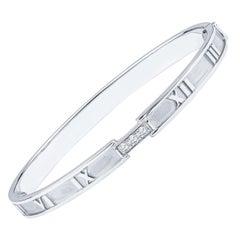 Tiffany & Co. Diamond Atlas Bangle w 0.15ctw in Round Diamonds, 18kt White Gold