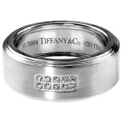 Tiffany Diamond Band/Wedding Ring, British Hallmarked 18 K White Gold