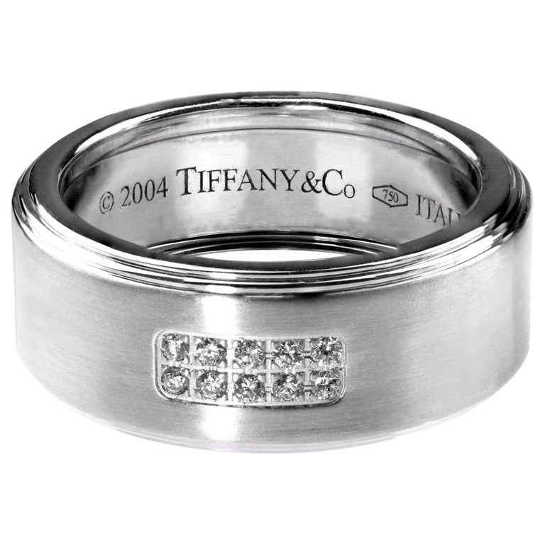Tiffany Diamond Band/Wedding Ring, British Hallmarked 18 K White Gold For Sale