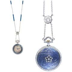 Tiffany & Co. Diamond Blue Enamel Watch Pendant, France, 1905