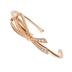 Tiffany & Co. Diamond Bow Cuff in 18 Karat Rose Gold 0.82 Carat
