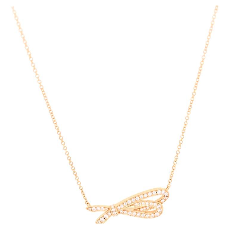 Tiffany & Co. Diamond Bow Pendant Necklace 18 Karat Rose Gold For Sale