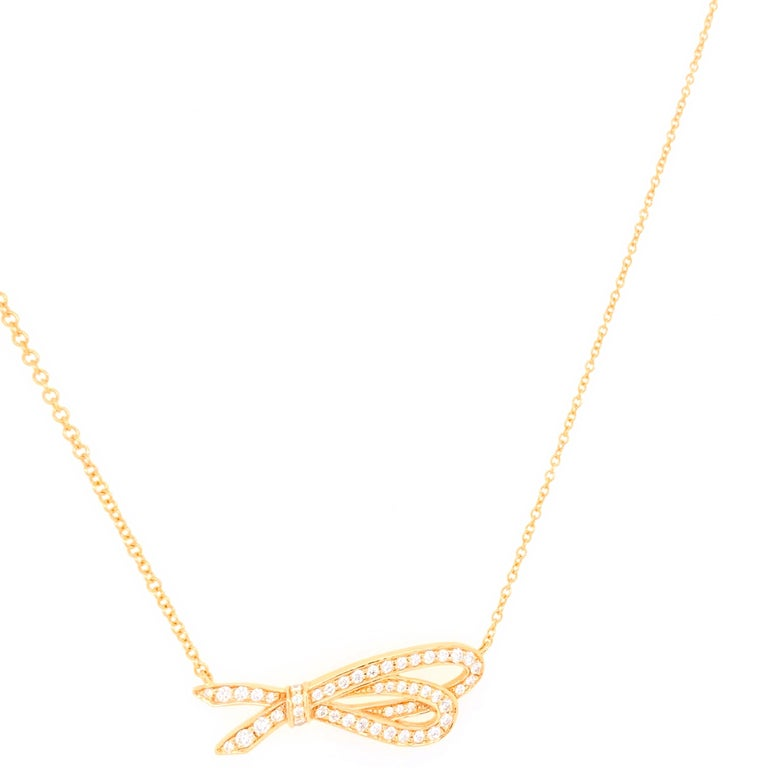 Tiffany & Co. Diamond Bow Pendant Necklace 18 Karat Rose Gold For Sale 5