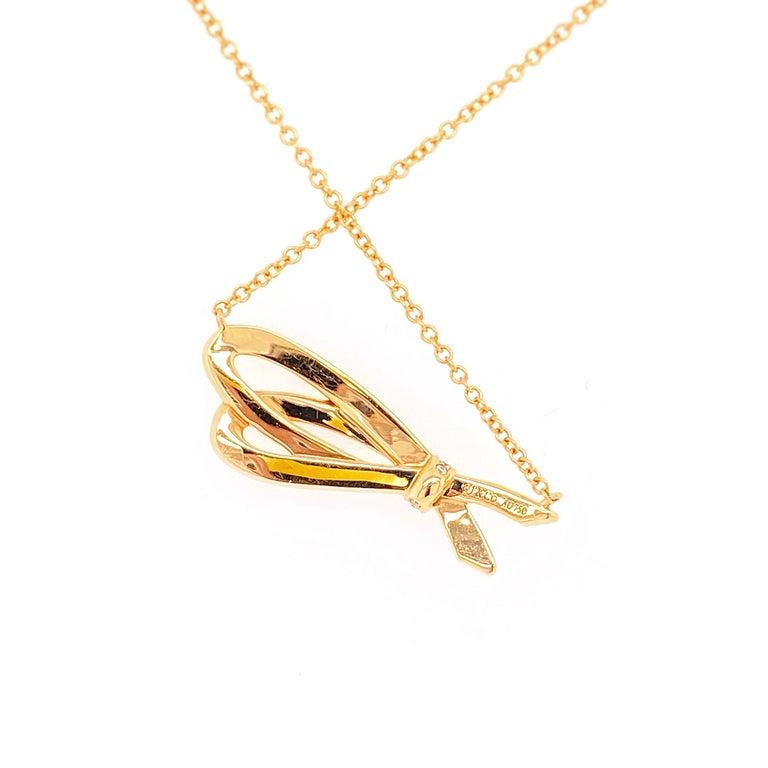 Tiffany & Co. Diamond Bow Pendant Necklace 18 Karat Rose Gold For Sale 6
