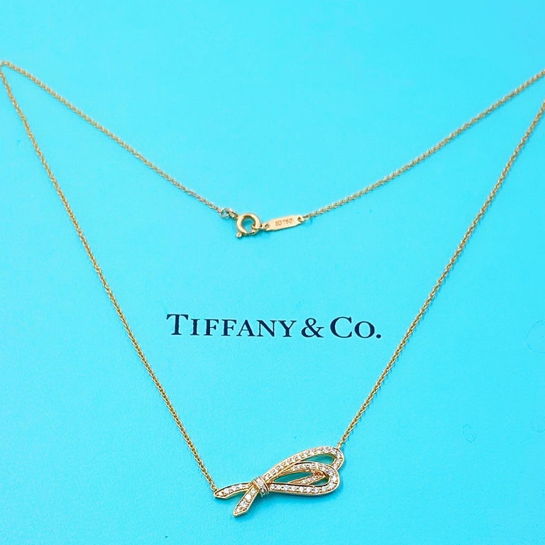 Round Cut Tiffany & Co. Diamond Bow Pendant Necklace 18 Karat Rose Gold For Sale