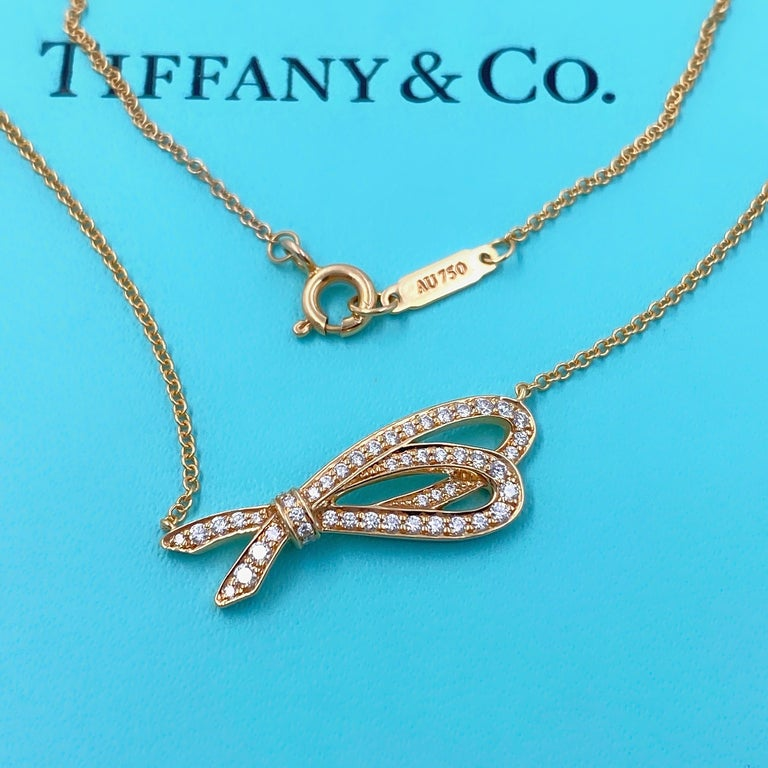 Women's or Men's Tiffany & Co. Diamond Bow Pendant Necklace 18 Karat Rose Gold For Sale